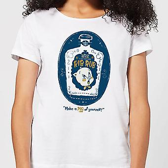 Looney Tunes ACME Rib Rub Merch Womens Short Sleeve T-Shirt Tee Top - White