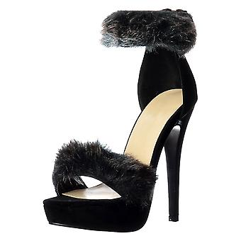 Onlineshoe Peep Toe Stiletto High Heels - High Back Strappy Sandals Faux Fur Ankle Cuff