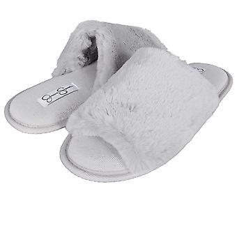 Jessica Simpson Women''s Plush Faux Fur Fuzzy Slide on Open Toe Slipper with Memory Foam