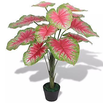 vidaXL Artificial Caladium plant with pot 70 cm green and red