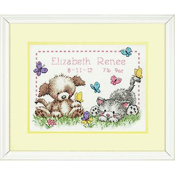 Dimensions Counted Cross Stitch Kit: Birth Record: Pet Friends