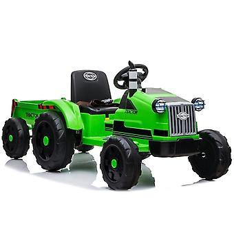 Tractor Ride-on vehicul electric – Verde – Cu remorcă