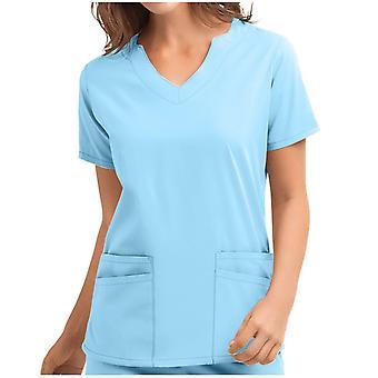 Ženy Vysokoteplotné sterilizovateľné oblečenie Krátky rukáv V-neck Topy