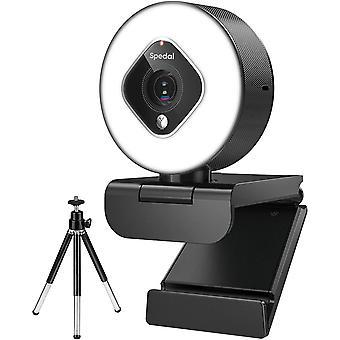FengChun Webcam mit Ringlicht und Zoomobjektiv, Einstellbarer Erweiterte Helligkeit Automatische Seder- 1080P