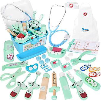 FengChun Arztkoffer Holz Doktor Spielzeug mit Echt Stethoskop fr Kinder Blau Rollenspiel Geschenk ab