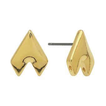 Postes de pendientes de platillo para gemduo cuentas, Provatas II, medio diamante 13x10mm, medio diamante, 1 par, 24k bañado en oro