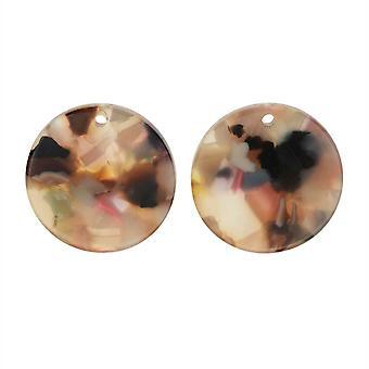 Colgante de acetato de Elementos Zola, Garden Party Coin 20mm, 2 piezas, Multicolor