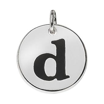 Final Sale - Lead-Free Pewter, Round Alphabet Charm Lowercase Letter 'd' 13mm, 1 Piece, Silver Plated