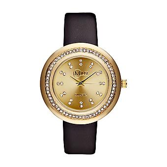 Muse - Gold Woman's Watch - Mundi-apos; - black leather bracelet