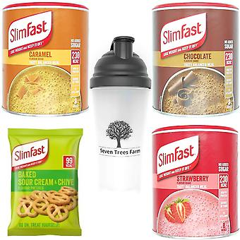 SlimFast KIT Made of High Protein Meal Replacements Shakes (Chocolate 300g, Caramel 292g, Strawberry 292g), 3 x Pretzels 23g, STF Shaker 700ml