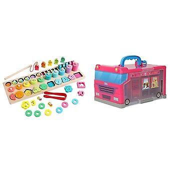 20pcs dzieci grać dom przechowywania autobus zabawka 1 zestaw drewniany numer puzzle sortowanie zabawki dla małych dzieci