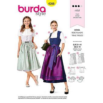 Burda Sewing Pattern 6268 Misses Dress Dirndl Size 8-18 Uncut