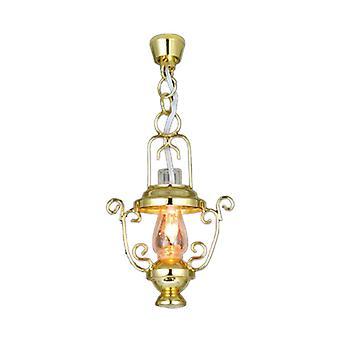 Dolls House Fancy Brass Hanging Oil Lamp Ceiling Light 12v Electric Lighting