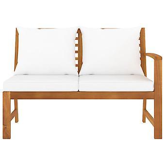 vidaXL banc de jardin 114,5 cm avec la crème oreillers en bois massif acacia