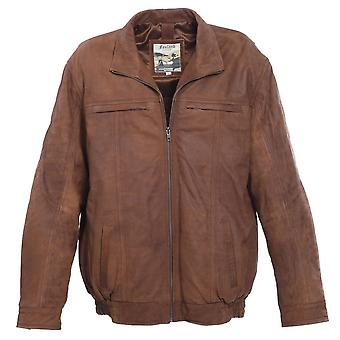 Men's Full Soft Leather Centre Zip Leather Jacket