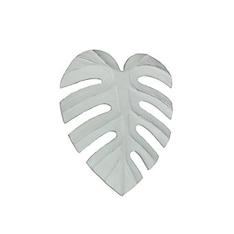 10 Inch White Tropical Leaf Hand Carved Wood Wall Art Hanging Plaque Home Decor