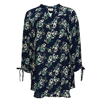 Joan Rivers Classics Collection Women's Top Floral Tunic Blue A310924