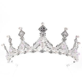 Cocar de Casamento Pérola Pérola Contas de Cristal Noiva Rhinestone Coroa Tiara Bandana