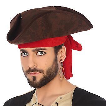 Cappello Pirata Marrone Rosso 119502