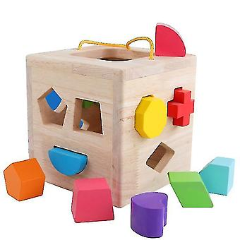 Shape Sorter -lelu, Puiset rakennuspalikat, Klassiset lelut pikkulapsille (12 reikää)