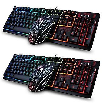 Wired Mechanical Gaming Keyboard + Mouse Sets LED Backlit 19 Keys For PC Laptop