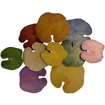 Fine Asianliving Lotus Leaf Maleri Bærekraftig Veggkunst 3D Flerfarget