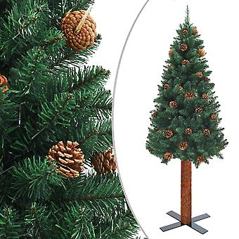 vidaXL سليم شجرة عيد الميلاد مع الخشب الحقيقي والمخاريط الخضراء 210cm PVC