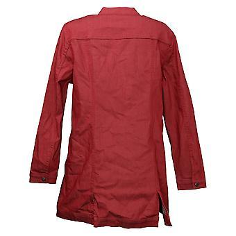 DG2 by Diane Gilman Women's Stretch Long Denim Jacket Red 715065