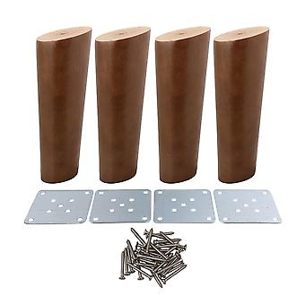 Pöydän jalat 4kpl 15cm korkuinen puu viisto kapenevat huonekalut jalat saksanpähkinä väri  ppm-3008