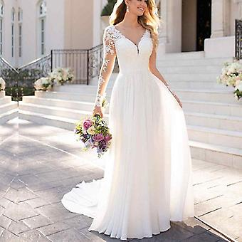 Wedding Dresses With Sleeves Open Back White Lace Applique Bridal Dress