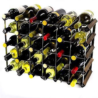 Classic 30 (6x4) Fles Donker Eiken Gebeitst Hout en gegalvaniseerd Metalen Wijnrek Klaar Geassembleerd