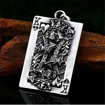 Mens Skull Lucky King Poker Card Pendant Necklace Stainless Steel Chain|Necklaces