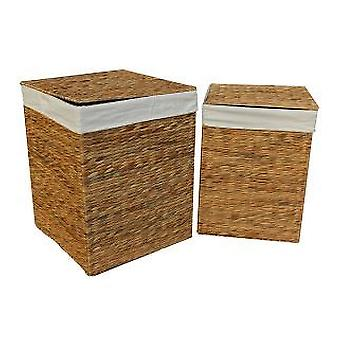 Water Hyacinth Square Laundry Basket Set 2
