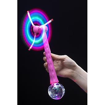 Disko Topu Pembe Işıklı Yel Değirmeni 28cm