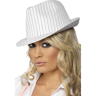 1920-as hat gengszter kalap, fekete PinStripe Mafia női kalap