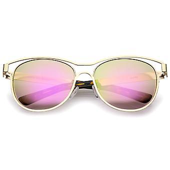 Moderne Open metalen gekleurde spiegel Lens hoorn omrande zonnebril 56mm