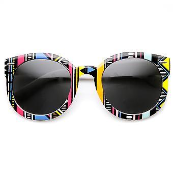 Mujeres de gran tamaño nativo impresión moda redondas gafas de sol