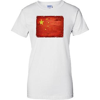 China Grunge Grunge Effekt Flag - Damen-T-Shirt