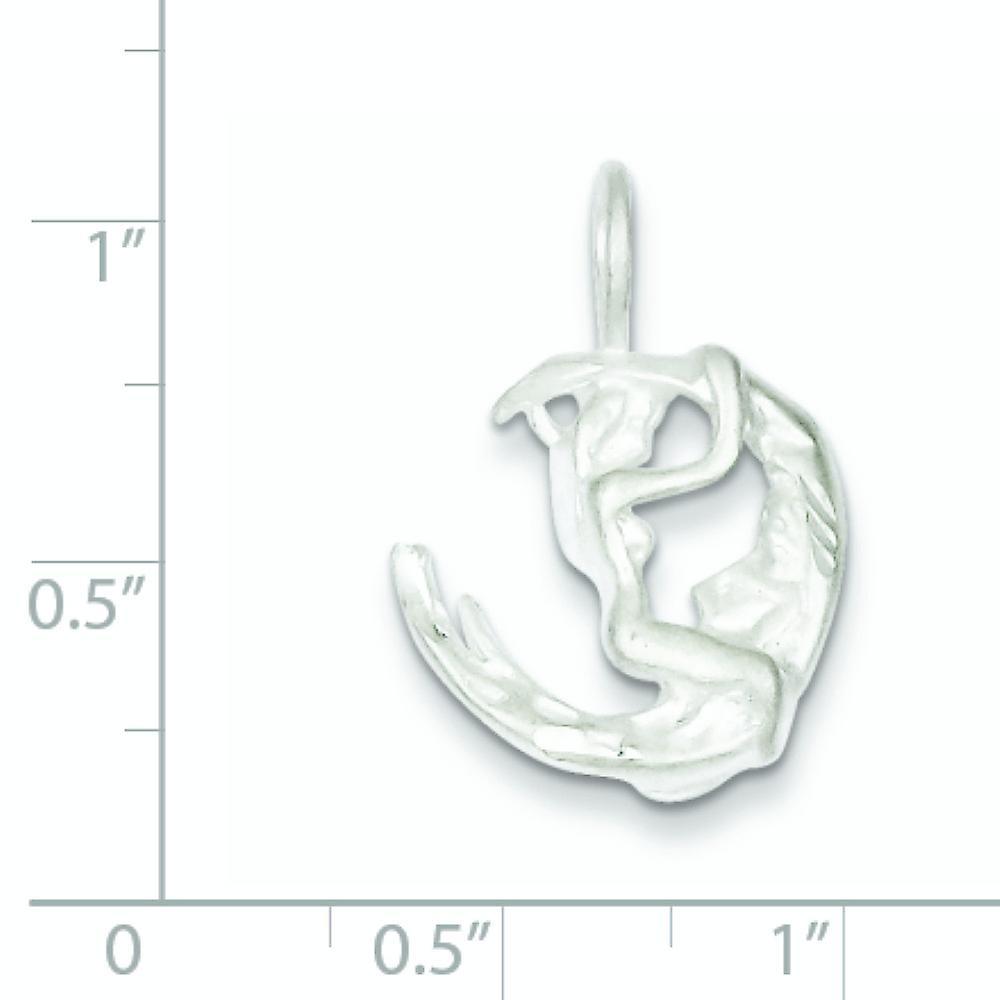 925 Sterling Silber poliert Himmlischen Mond und Lady Charm Anhänger Halskette Schmuck Geschenke für Frauen