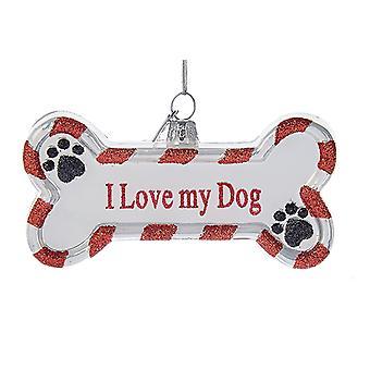 Kurt Adler Noble Gems I Love My Dog Bone Shaped  Holiday Ornament