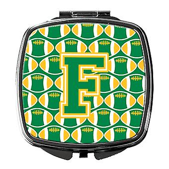 Carolines Treasures  CJ1069-FSCM Letter F Football Green and Gold Compact Mirror