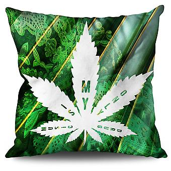 Music 42 Weed Leaf Linen Cushion 30cm x 30cm | Wellcoda