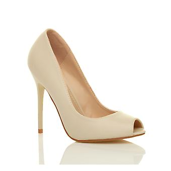 Ajvani womens high heel party prom work pumps peep toe court shoes sandals