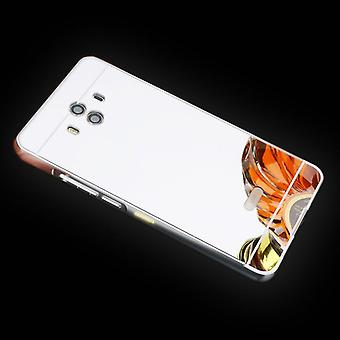 Mirror / peili alumiini puskurin 2 kpl kansi hopea Huawei Mate 10 tasku tapauksessa