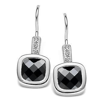 Orphelia Silver 925 Drop Earring Carree Black Zirconium   ZO-5037