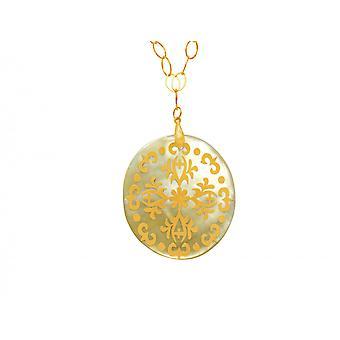 Gemshine halskjede anheng medaljong forgylt mor-av-perle gullbelagt grå