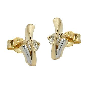 Bicolor 375 gold earrings gold plug, bicolor, cubic zirconia, 9 KT GOLD earrings