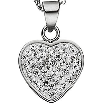 Necklace chain with heart pendant in stainless steel with crystals 45 cm