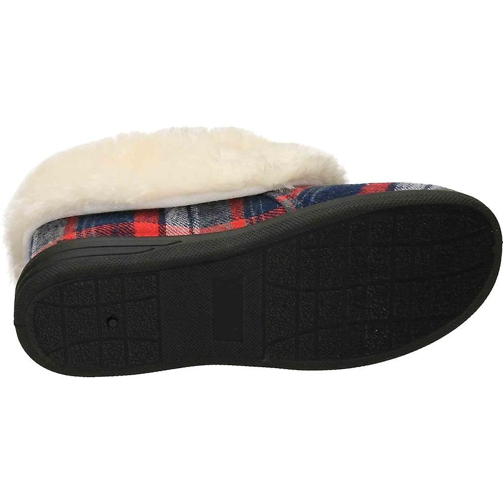 Cushion-Walk Tartan Plush Ankle Bootee Slipper House Shoe lhJjl