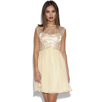 Little Mistress Lace Top Chiffon Dress